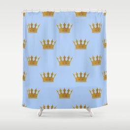 Louis Blue Gold Crown Prince of Cambridge Shower Curtain