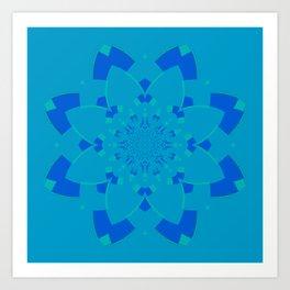 Blue Flower Kaleidoscope Art Print