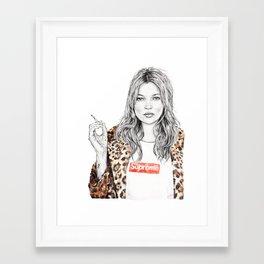 Kate Moss Supreme Leopard Print Portrait Framed Art Print