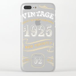 92nd-Birthday-Gift-Gold-Vintage-1925-Aged-Perfectly Clear iPhone Case