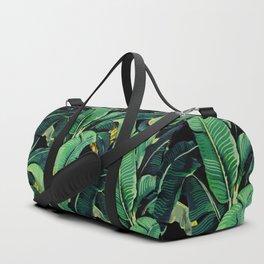 Watercolor banana leaves night pattern Duffle Bag