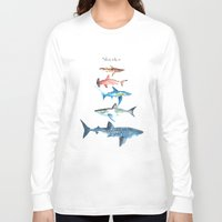 sharks Long Sleeve T-shirts featuring Sharks by Amee Cherie Piek