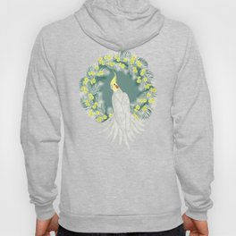 Cockatiel with daisy palm wreath Hoody