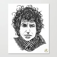 bob dylan Canvas Prints featuring Bob Dylan by The Curly Whirl Girly.