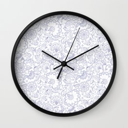 Fly EYES - Patterns BLUE - flowers, floral Wall Clock