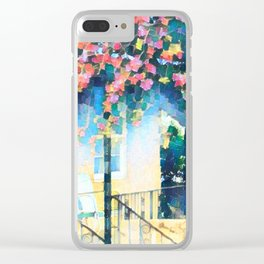 Old Porch of Pink and Teal by CheyAnne Sexton Clear iPhone Case