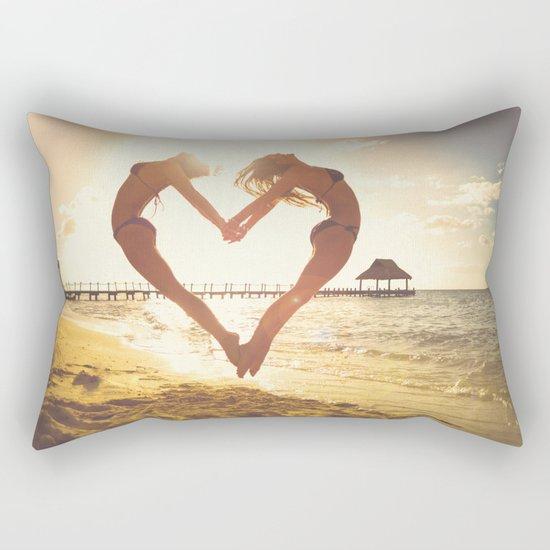 heart beach holiday 5 Rectangular Pillow