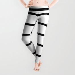 Horizontal Lines (Black & White Pattern) Leggings