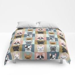 French Bulldog portraits pattern dog person gift love animal pet puppy frenchie bulldog valentines Comforters