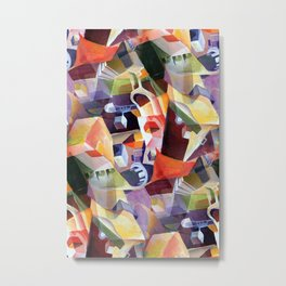 Contemporary Abstract in Modern Geometric Cubism Style Metal Print