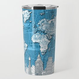world map city skyline 10 Travel Mug