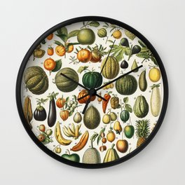 Vintage Fruits And Vegetables Illustration Wall Clock