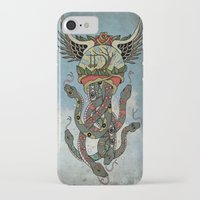 cthulu iPhone & iPod Cases featuring In To The Blue by Mark R. Skipper