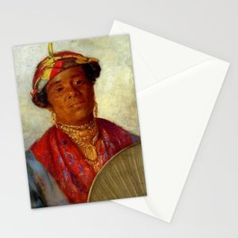 African American Masterpiece 'Woman with Gold Necklaces' by Helen Watson Phelps Stationery Cards
