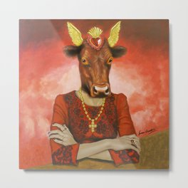Flamenco-dancing red cow Metal Print
