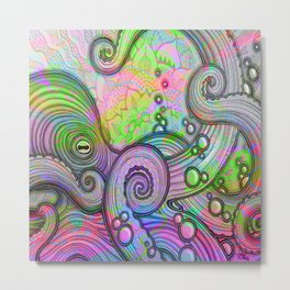 Psychedelic Octopus by Julie Oakes Metal Print