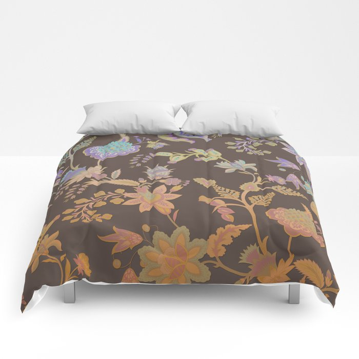 Chateau Brown Chinoiserie Decorative Floral Motif Chintz Comforters