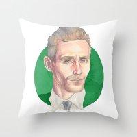 tom hiddleston Throw Pillows featuring Hiddleston by Megan Diño