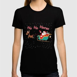 Christmas T-Shirt Funny Ho-Ho-Horses Cute Xmas Gift Apparel T-shirt
