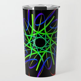 Guilloche red and galactic signs. Four neon objects for a certificate or a voucher. Travel Mug