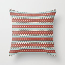 Red And White Zig Zag Christmas Pattern Throw Pillow