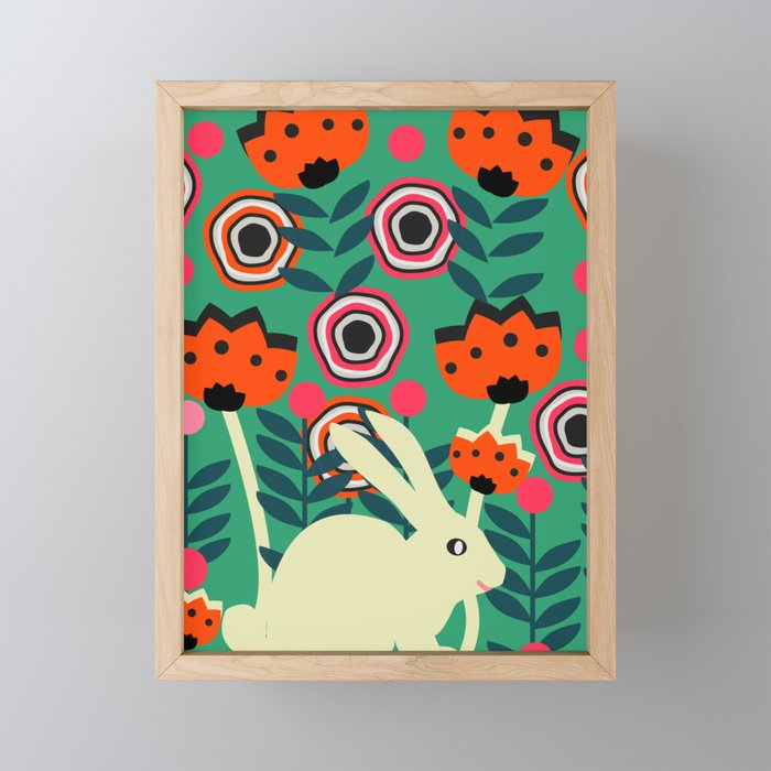 Little bunny in spring Framed Mini Art Print