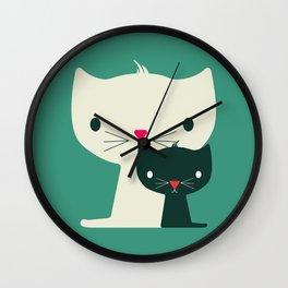 Twins Cats Illustration Wall Clock