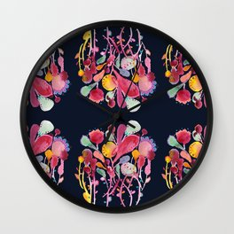 Midnight Blue Floral Wall Clock