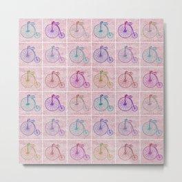 Penny Farthing Vintage Pink Repeat Pattern Metal Print