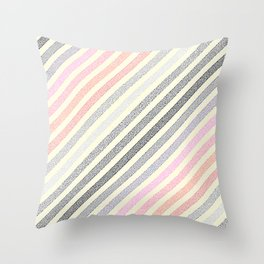 Living Coral Peach Pink Gray Pixel Stripes Throw Pillow