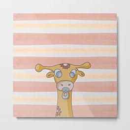 la giraffa e il girasole Metal Print