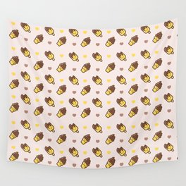 Cute modern yellow chocolate funny ice cream heart pattern Wall Tapestry