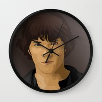 sam winchester Wall Clocks featuring Sam Winchester by siddick49