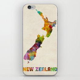 New Zealand, Watercolor Map iPhone Skin