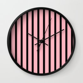 Pink And Black Stripes | Pastel Goth Decor Wall Clock