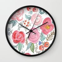 jenna kutcher Wall Clocks featuring Watercolor Floral Print by Jenna Kutcher