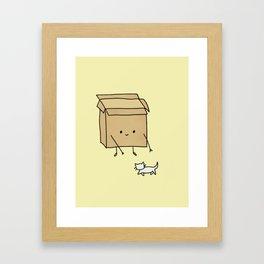 Boxes love cats Framed Art Print