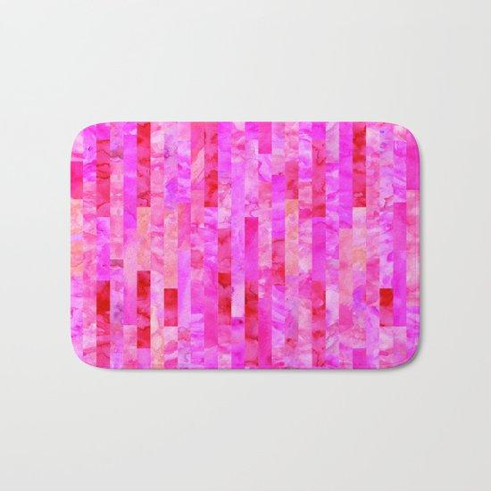 Pink Geometric Pattern Bath Mat