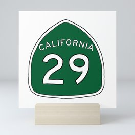 Hand Drawn Green California 29 Highway Sign Napa Valley Mini Art Print