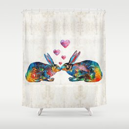 Bunny Rabbit Art - Hopped Up On Love - By Sharon Cummings Shower Curtain