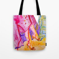 amelie Tote Bags featuring Amelie by Laurie Art Gallery