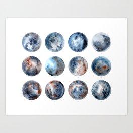 Twelve Moons Night Sky Watercolor Art Print