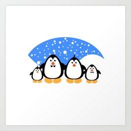 NGWINI - penguin family snow Art Print
