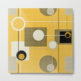 orbs and square gold yellow Metal Print
