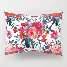 Pink red teal watercolor hand painted floral Pillow Sham