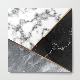 Elegant Silver Marble with Bronze Lining Metal Print