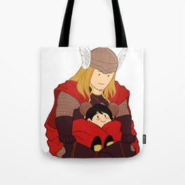 Thor and Kid Loki Tote Bag