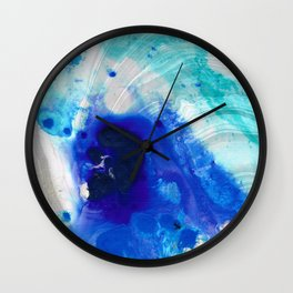 Modern Abstract Art - Blue Marble by Sharon Cummings Wall Clock