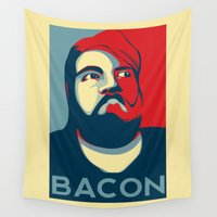 bacon Wall Tapestries featuring BACON by MezmoreyezGaming