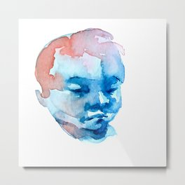 Blue and Red Portrait Metal Print